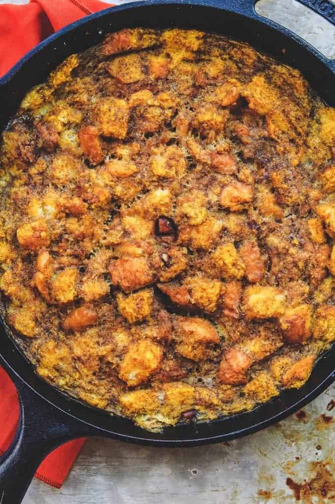 closeup view of baked pumpkin french toast in a black skillet