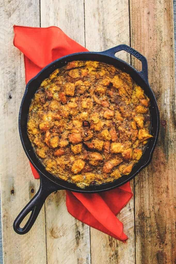 overhead view of a cast iron skillet of baked pumpkin french toast