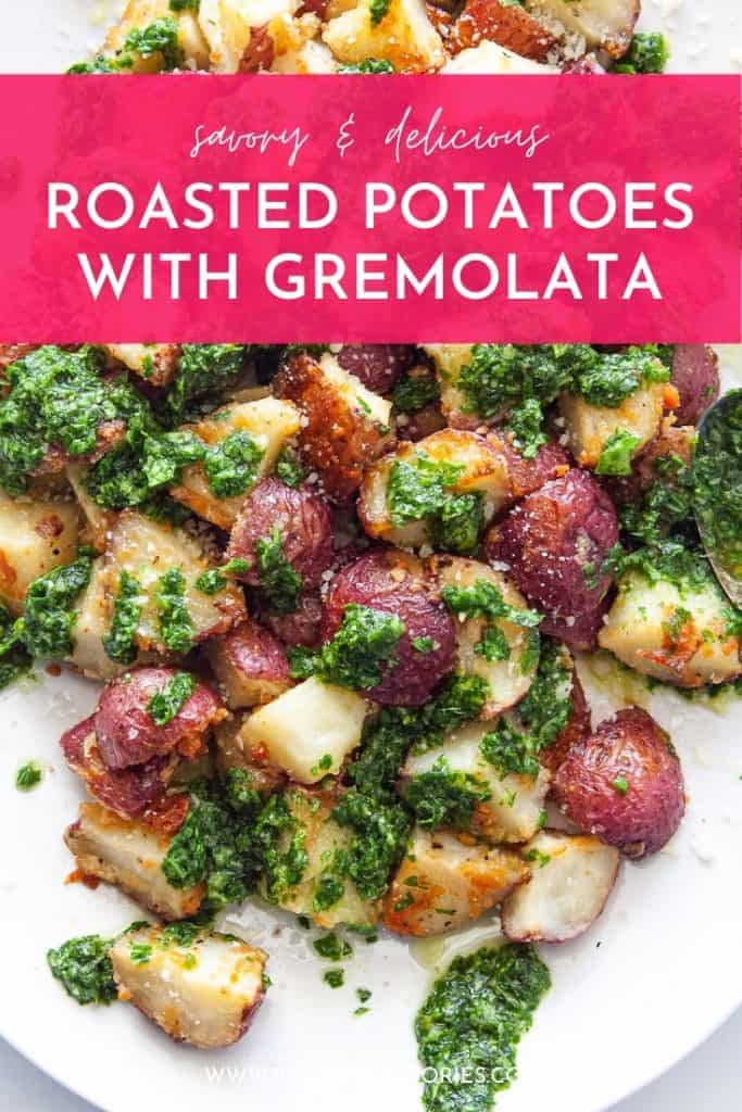 roasted potatoes with gremolata pinterest pin