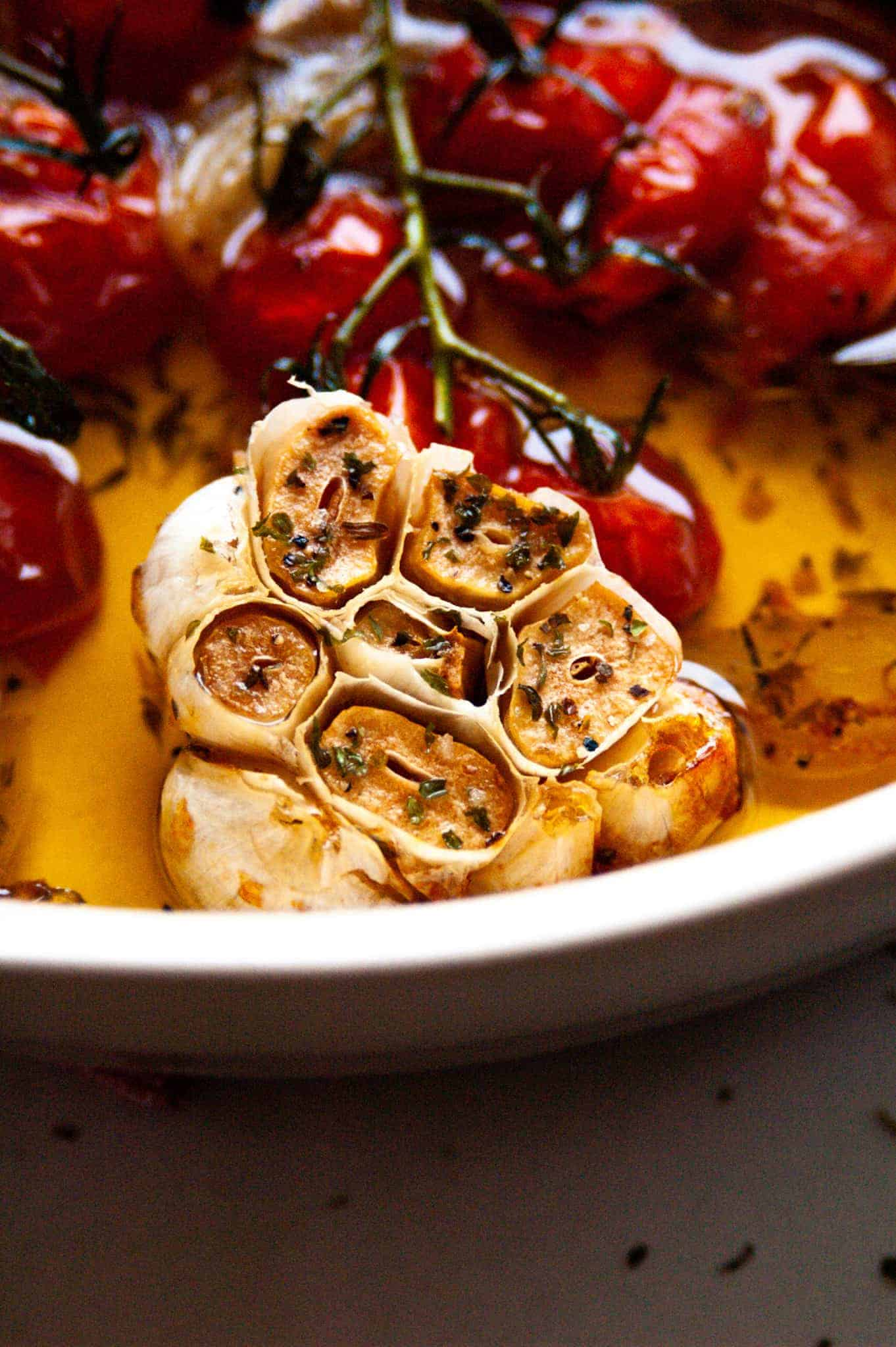 roasted garlic and tomatoes in olive oil